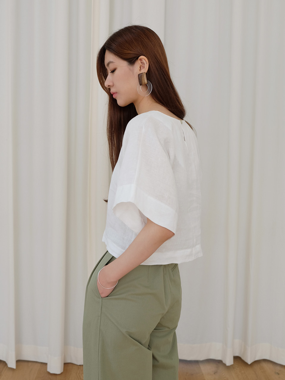 LINEN RAY BLOUSE(WHITE)