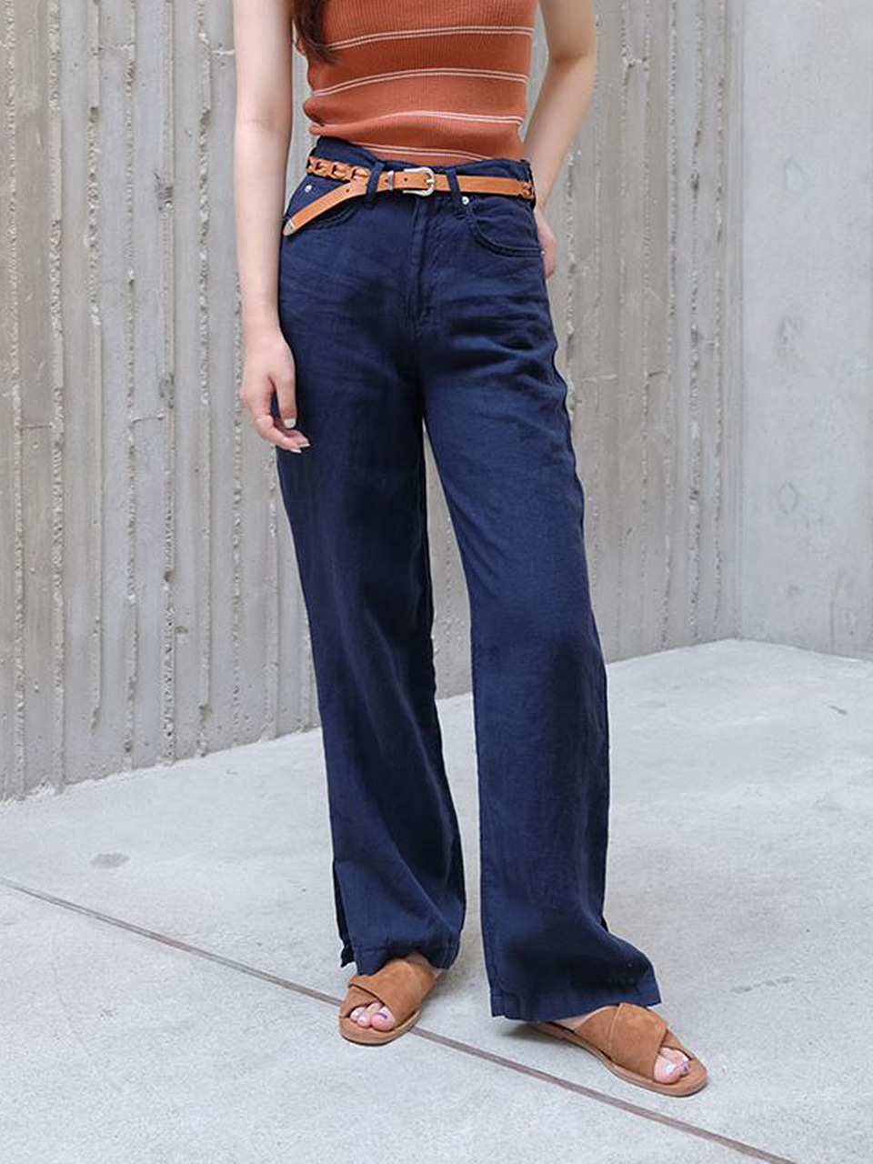 SLIT LINEN PANTS( 2COLOR)