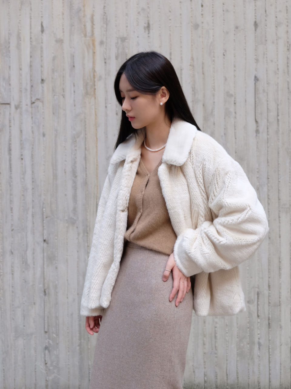 RAY FUR JACKET [IVORY]