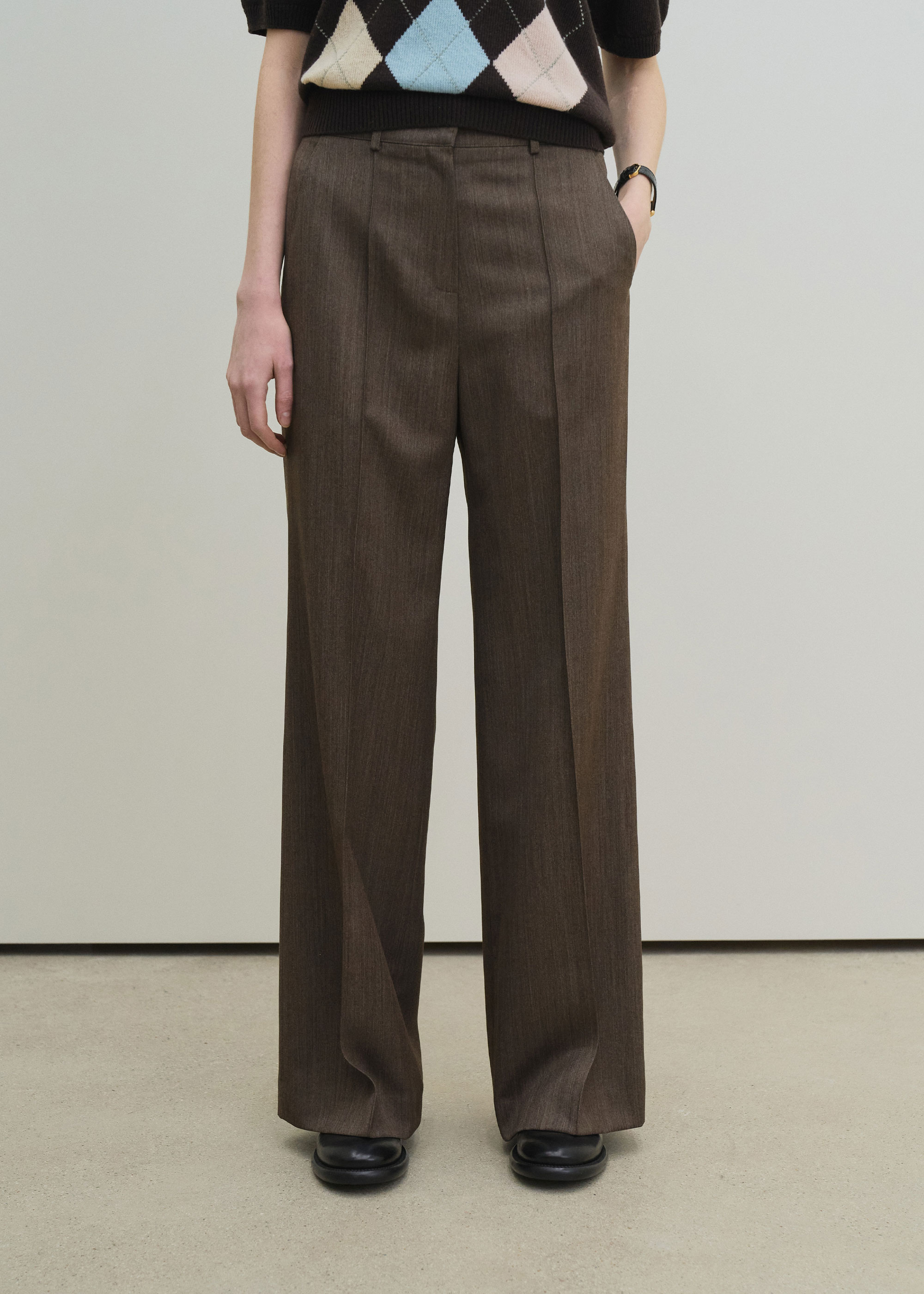 21S/S FLARED LEG PANTS [BROWN]